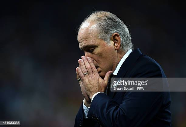 Head coach Alejandro Sabella of Argentina gestures during the 2014 FIFA World Cup Brazil Semi Final match between Netherlands and Argentina at Arena...