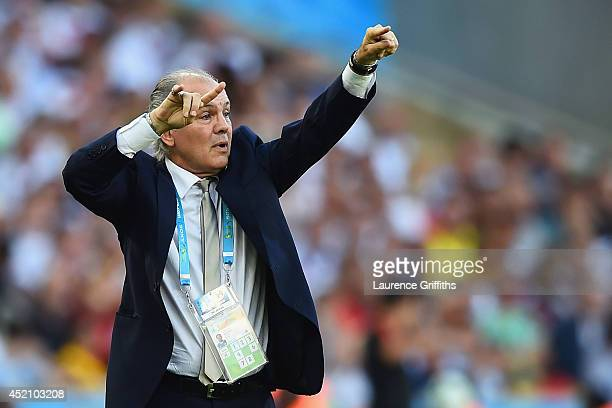 Head coach Alejandro Sabella of Argentina gestures during the 2014 FIFA World Cup Brazil Final match between Germany and Argentina at Maracana on...