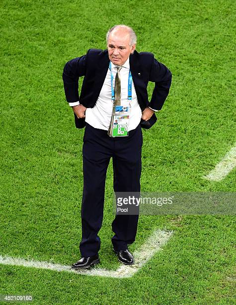 Head coach Alejandro Sabella of Argentina looks on during the 2014 FIFA World Cup Brazil Final match between Germany and Argentina at Maracana on...