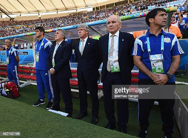 Head coach Alejandro Sabella of Argentina looks on from the bench prior to the 2014 FIFA World Cup Brazil Final match between Germany and Argentina...