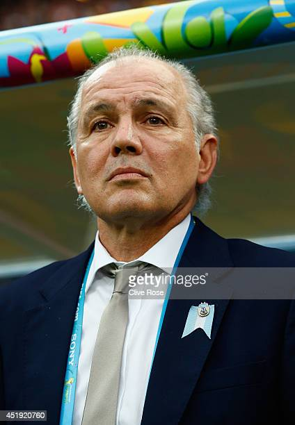 Head coach Alejandro Sabella of Argentina looks on prior to the 2014 FIFA World Cup Brazil Semi Final match between the Netherlands and Argentina at...