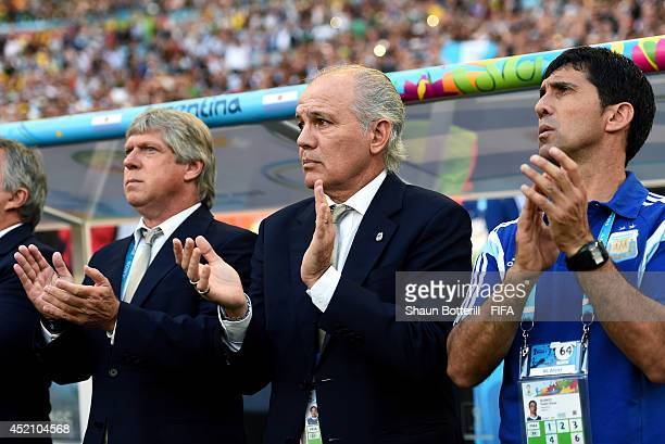 Head coach Alejandro Sabella of Argentina looks on prior to the 2014 FIFA World Cup Brazil Final match between Germany and Argentina at Maracana on...
