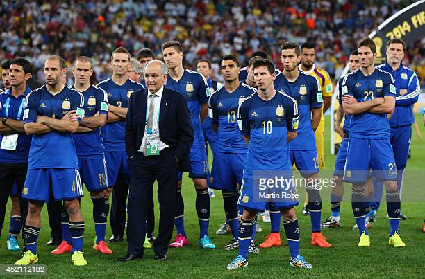 Head coach Alejandro Sabella of Argentina looks on with his team after being defeated by Germany 10 during the 2014 FIFA World Cup Brazil Final match...