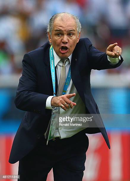 Head coach Alejandro Sabella of Argentina reacts during the 2014 FIFA World Cup Brazil Group F match between Nigeria and Argentina at Estadio...