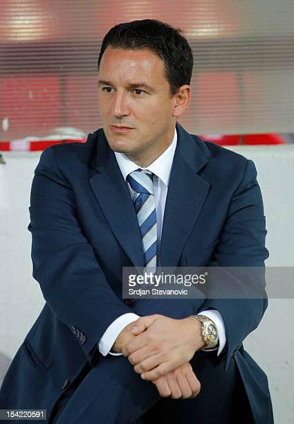Head coach Aleksandar Jankovic of Serbia looks on prior to the Under 21 European Championship Play Off second leg match between Serbia U21 and...