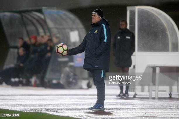 Head coach Alen Stajcic of Australia during the Women's Algarve Cup Tournament match between Norway and Australia at Municipal Albufeira on February...