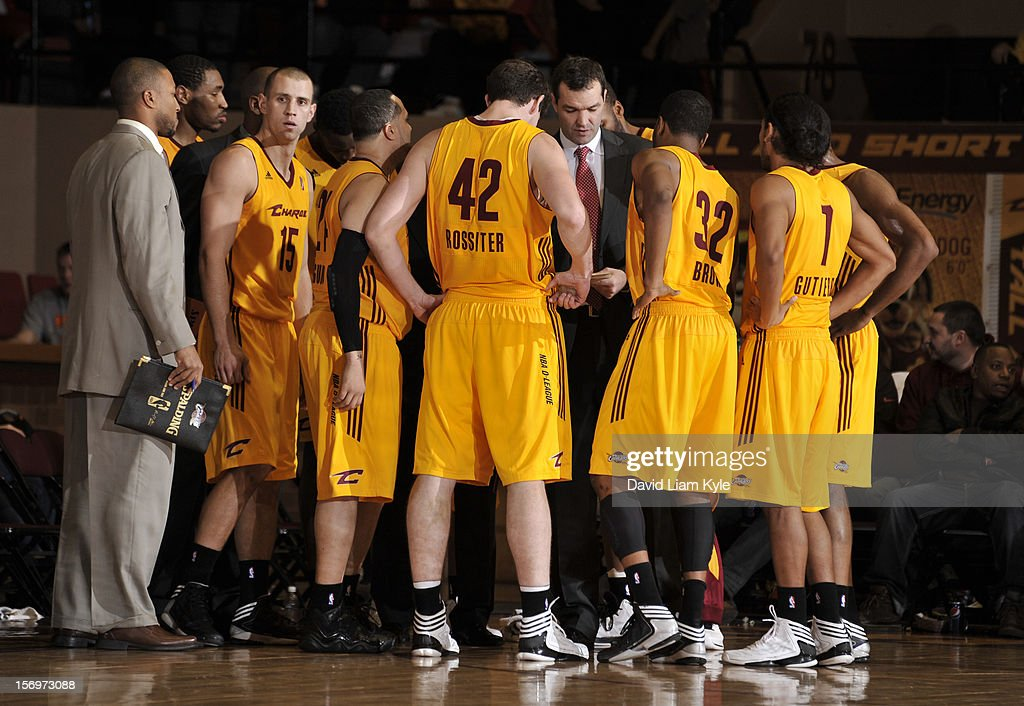 Head coach Alex Jensen of the Canton Charge discusses the next play in the game against the Maine Red Claws at the Canton Memorial Civic Center on November 23, 2012 in Canton, Ohio.