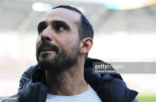 Head coach Alexander Nouri of Berlin looks on prior to the Bundesliga match between SC Paderborn 07 and Hertha BSC at Benteler Arena on February 15...