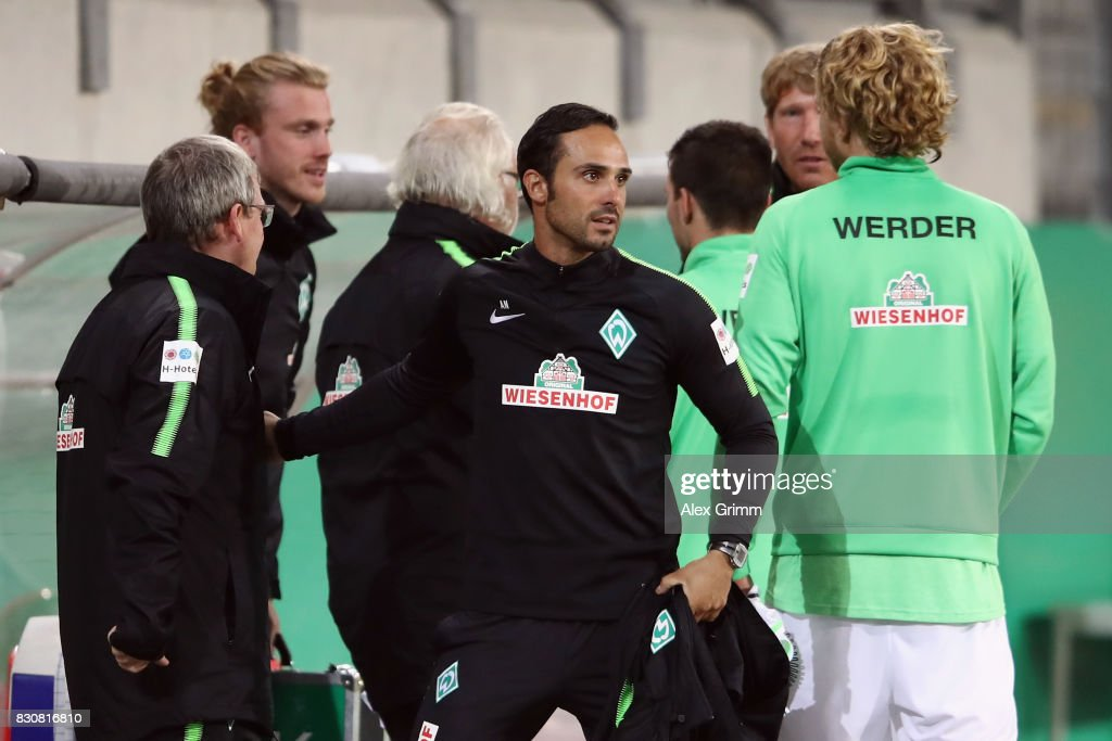 Head coach Alexander Nouri of Bremen celebrates after the DFB Cup first round match between Wuerzburger Kickers and SV Werder Bremen at Sparda-Bank-Hessen-Stadion on August 12, 2017 in Offenbach, Germany.