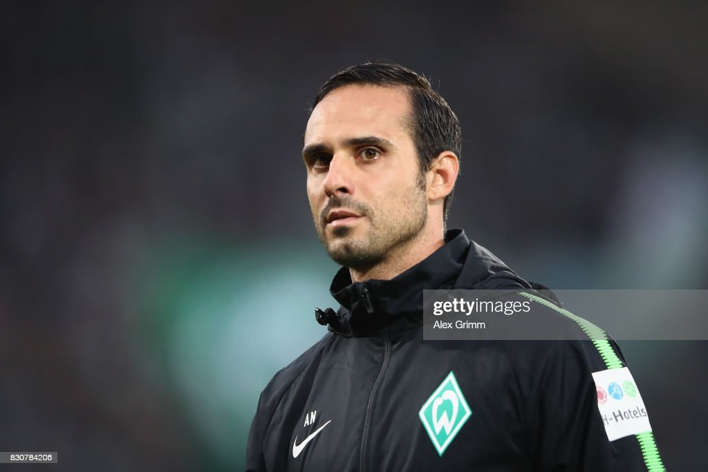Head coach Alexander Nouri of Bremen looks on prior to the DFB Cup first round match between Wuerzburger Kickers and SV Werder Bremen at Sparda-Bank-Hessen-Stadion on August 12, 2017 in Offenbach, Germany.