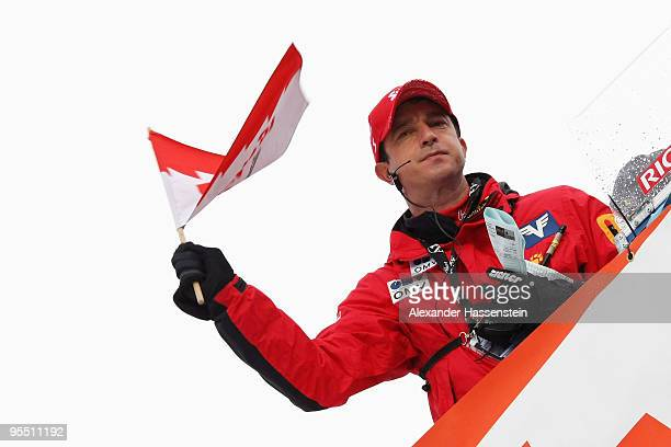 Head coach Alexander Pointner of Austria reacts during the training round of the FIS Ski Jumping World Cup event of the 58th Four Hills ski jumping...