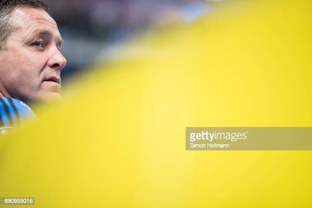 Head coach Alfred Gislason looks on prior to the DKB HBL match between RheinNeckar Loewen and THW Kiel at SAP Arena on May 31 2017 in Mannheim Germany