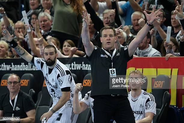 Head coach Alfred Gislason of Kiel celebrates during the DKB HBL Bundesliga match between THW Kiel and RheinNeckar Loewen at Sparkassen Arena on...