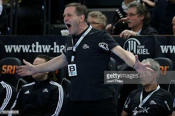 Head coach Alfred Gislason of Kiel gestures during the DKB HBL Bundesliga match between THW Kiel and RheinNeckar Loewen at Sparkassen Arena on...