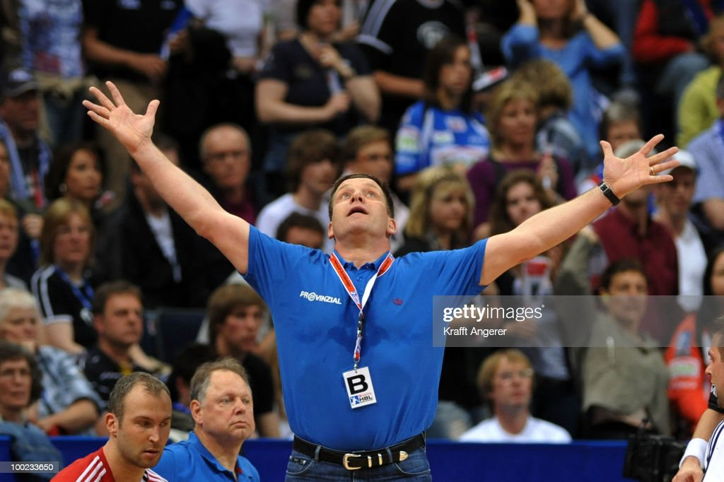 Head coach Alfred Gislason of Kiel reacts during the Bundesliga match between HSV Hamburg and THW Kiel at the Color Line Arena on May 22, 2010 in Hamburg, Germany.