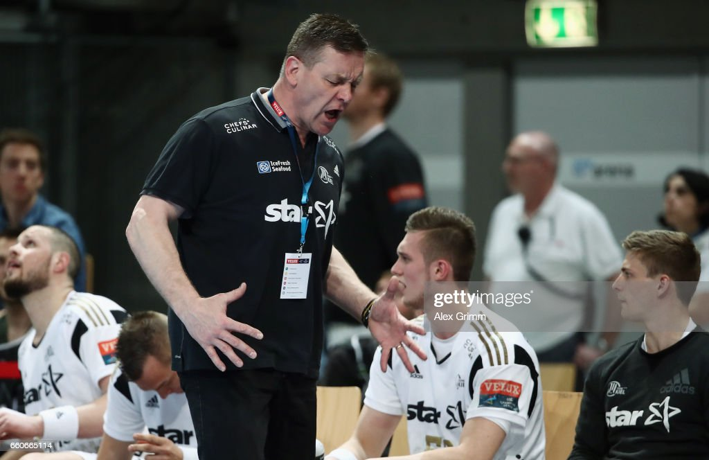 Head coach Alfred Gislason of Kiel reacts during the EHF Champions League Quarter Final Leg 2 match between Rhein Neckar Loewen and THW Kiel at SAP Arena on March 30, 2017 in Mannheim, Germany.