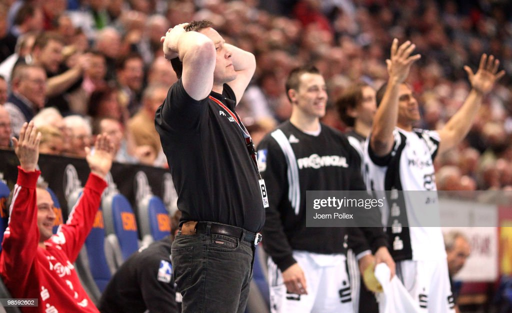 Head coach Alfred Gislason of Kiel reacts during the Toyota Handball Bundesliga match between THW Kiel and Fuechse Berlin at the Sparkassen Arena on April 21, 2010 in Kiel, Germany.