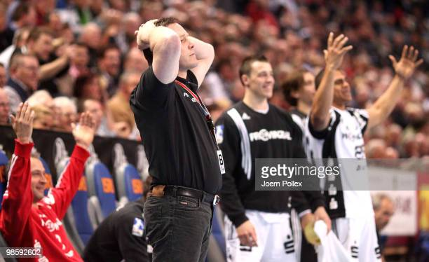 Head coach Alfred Gislason of Kiel reacts during the Toyota Handball Bundesliga match between THW Kiel and Fuechse Berlin at the Sparkassen Arena on...