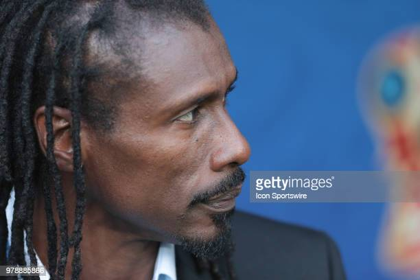 head coach Aliou Cisse of Senegal during a Group H 2018 FIFA World Cup match between Poland and Senegal on June 19 at Spartak Stadium in Moscow Russia