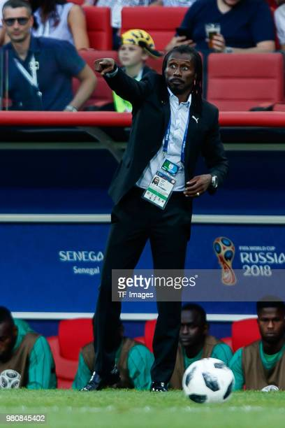 Head coach Aliou Cisse of Senegal gestures during the 2018 FIFA World Cup Russia group H match between Poland and Senegal at Spartak Stadium on June...