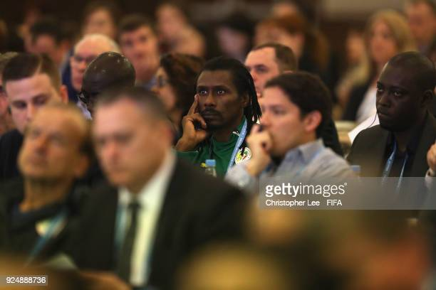 Head Coach Aliou Cisse of Senegal listens during Day 1 of the 2018 FIFA World Cup Russia Team Workshop on February 27 2018 in Sochi Russia