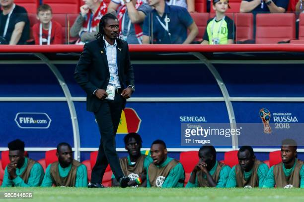 Head coach Aliou Cisse of Senegal looks on during the 2018 FIFA World Cup Russia group H match between Poland and Senegal at Spartak Stadium on June...