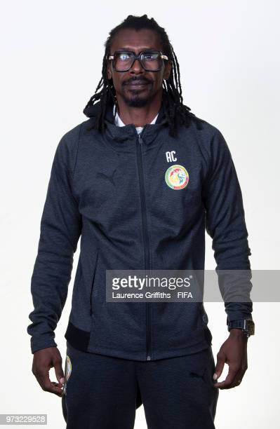 Head Coach Aliou Cisse of Senegal of Senegal poses for a portrait during the official FIFA World Cup 2018 portrait session at the Team Hotel on June...