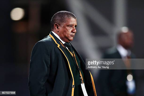 Head Coach Allister Coetzee looks on prior to the Rugby Championship match between the New Zealand All Blacks and the South Africa Springboks at AMI...
