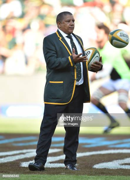 Head coach Allister Coetzee of the Springboks during the Rugby Championship 2017 match between South Africa and Australia at Toyota Stadium on...