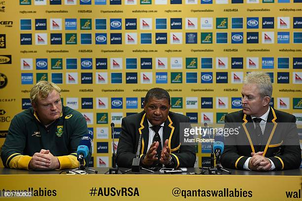 Head coach Allister Coetzee of the Springboks speaks during a press conference after the Rugby Championship match between the Australian Wallabies...