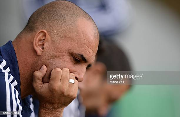Head coach Alon Hazan of Israel reacts prior to the KOMM MIT tournament match between U17 Germany and U17 Israel on September 14 2014 in Rain am Lech...