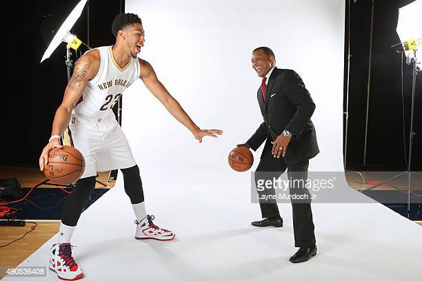Head Coach Alvin Gentry and Anthony Davis of the New Orleans Pelicans pose for photos during NBA Media Day on September 28 2015 at the New Orleans...
