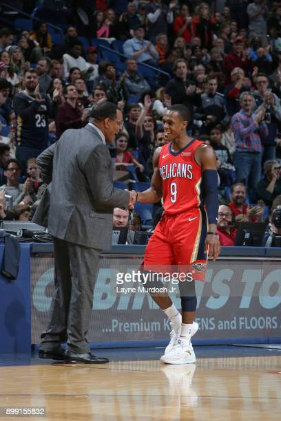 Head Coach Alvin Gentry and Rajon Rondo of the New Orleans Pelicans during the game against the Brooklyn Nets on December 27 2017 at Smoothie King...