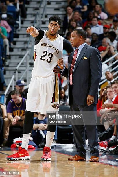 Head coach Alvin Gentry of the New Orleans Pelicans and Anthony Davis of the New Orleans Pelicans talk during the game against the Washington Wizards...