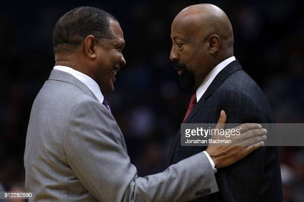 Head coach Alvin Gentry of the New Orleans Pelicans and Mike Woodson assistant coach of the LA Clippers before a game at the Smoothie King Center on...