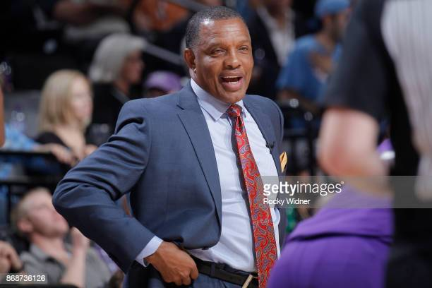 Head coach Alvin Gentry of the New Orleans Pelicans coaches against the Sacramento Kings on October 26 2017 at Golden 1 Center in Sacramento...