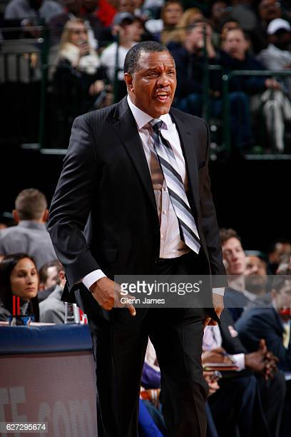 Head Coach Alvin Gentry of the New Orleans Pelicans coaches during the game against the Dallas Mavericks on November 27 2016 at the American Airlines...
