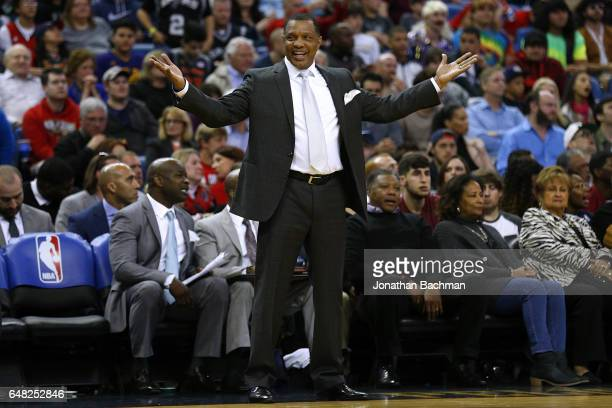 Head coach Alvin Gentry of the New Orleans Pelicans during a game against the San Antonio Spurs at the Smoothie King Center on March 3 2017 in New...