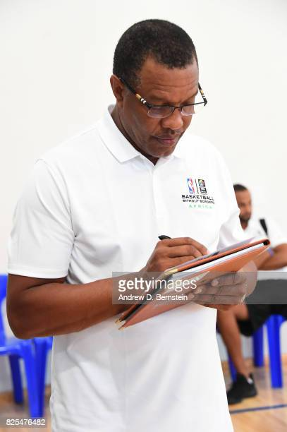 Head Coach Alvin Gentry of the New Orleans Pelicans evaluates during the Basketball Without Borders Africa at the American International School of...