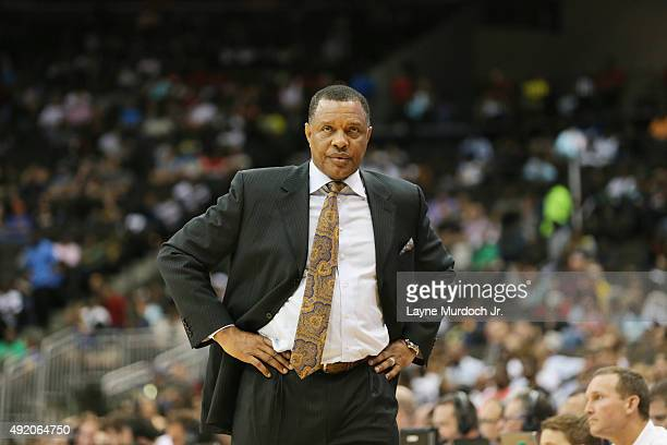 Head coach Alvin Gentry of the New Orleans Pelicans looks on against the Atlanta Hawks during a preseason game on October 9 2015 at the Jacksonville...