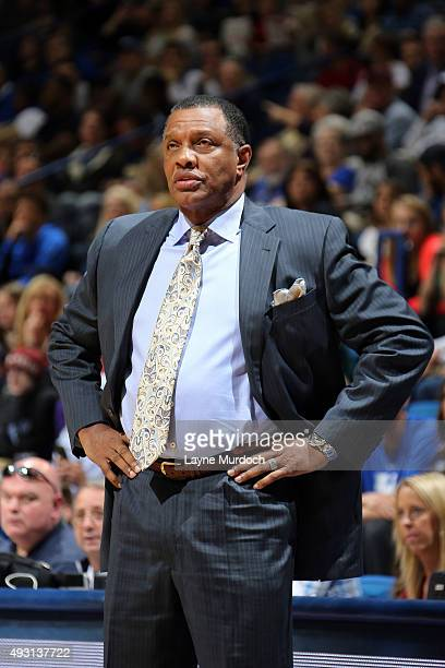 Head coach Alvin Gentry of the New Orleans Pelicans looks on against the Sacramento Kings during a preseason game on October 17 2015 at Rupp Arena in...