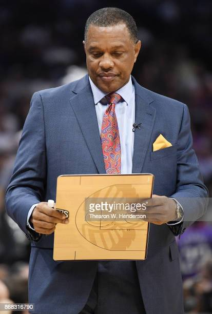 Head coach Alvin Gentry of the New Orleans Pelicans looks on against the Sacramento Kings during an NBA basketball game at Golden 1 Center on October...