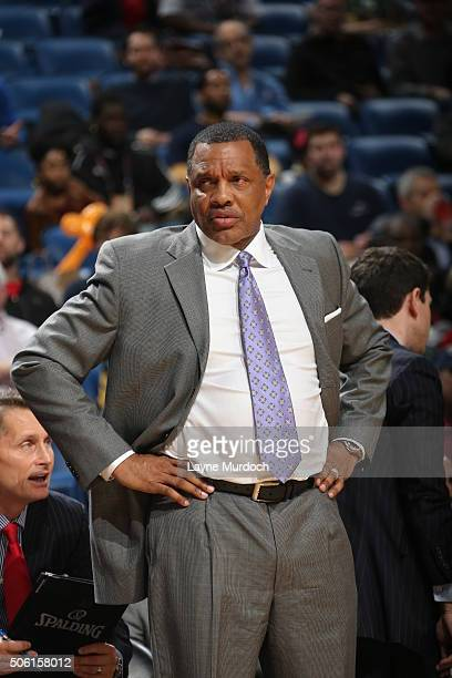 Head Coach Alvin Gentry of the New Orleans Pelicans looks on during the game against the Detroit Pistons on January 21 2016 at the Smoothie King...