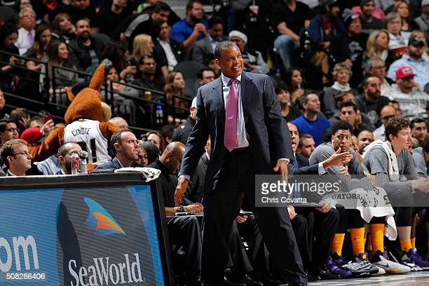 Head coach Alvin Gentry of the New Orleans Pelicans looks on during the game against the San Antonio Spurs on February 3 2016 at the ATT Center in...