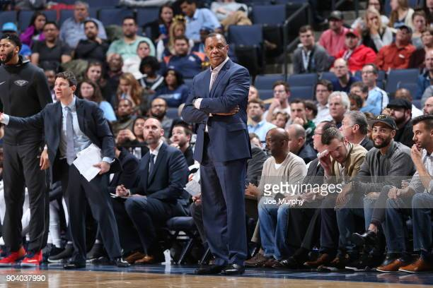 Head Coach Alvin Gentry of the New Orleans Pelicans looks on during the game against the Memphis Grizzlies on January 10 2018 at FedExForum in...