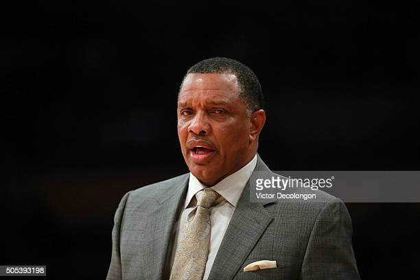 Head Coach Alvin Gentry of the New Orleans Pelicans looks on from bench area during the NBA game between the New Orleans Pelicans and the Los Angeles...