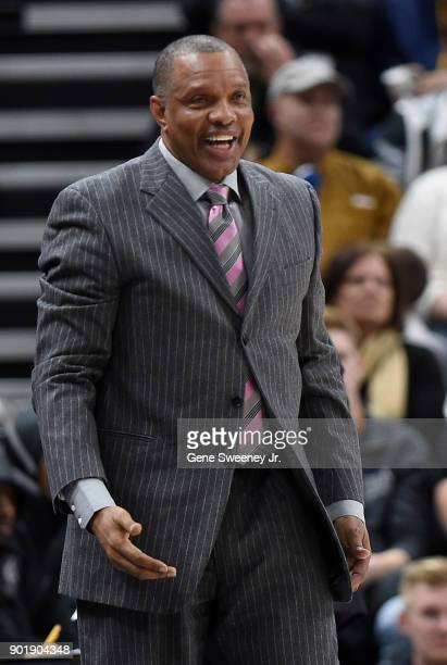 Head coach Alvin Gentry of the New Orleans Pelicans looks on from the sideline during their game against the Utah Jazz at Vivint Smart Home Arena on...