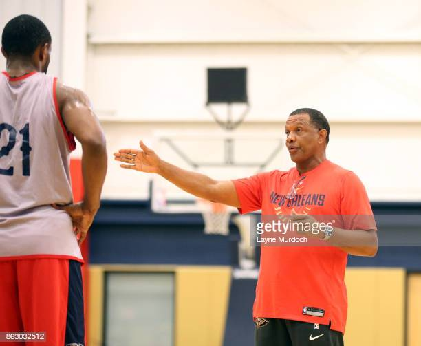 Head Coach Alvin Gentry of the New Orleans Pelicans participates in a practice on October 10 2017 at the the Ochsner Sports Performance Center in New...