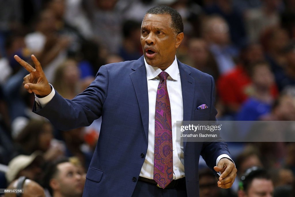 Head coach Alvin Gentry of the New Orleans Pelicans reacts during the first half of a game against the Golden State Warriors at the Smoothie King Center on December 4, 2017 in New Orleans, Louisiana.