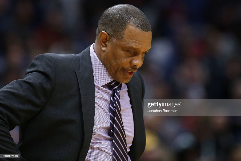 Head coach Alvin Gentry of the New Orleans Pelicans reacts during the second half against the Detroit Pistons at the Smoothie King Center on January 8, 2018 in New Orleans, Louisiana.
